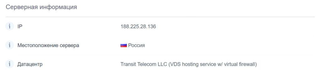 Географическое расположение серверов хостинга