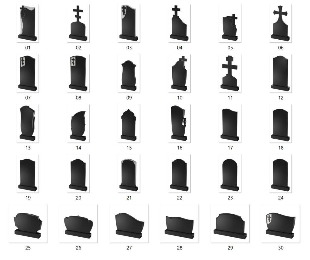 Модели гранитных памятников
